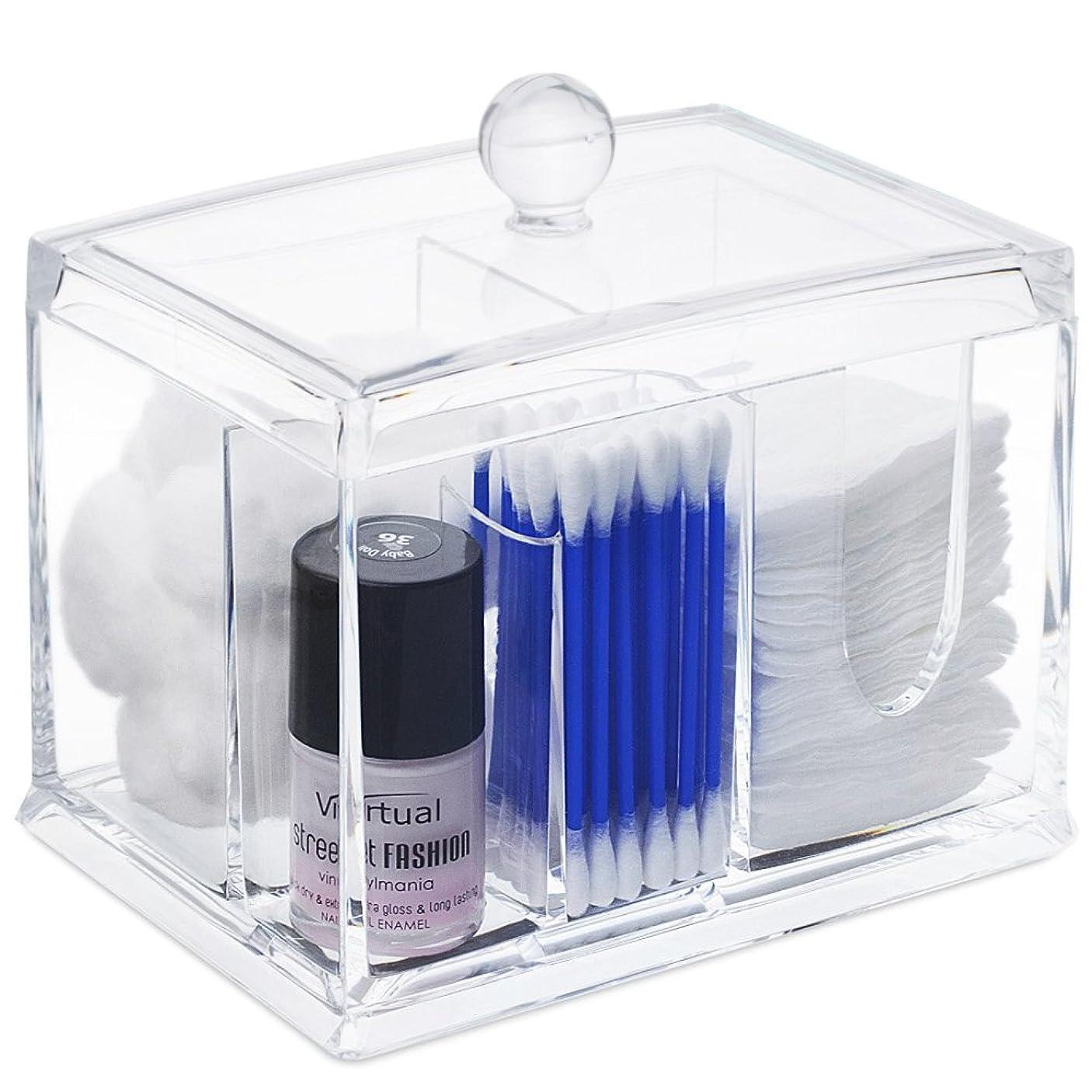 グレードホールド教STARMAX 棉棒ボックス 透明 アクリル製 フタ付き 防塵 清潔 化粧品小物 収納ケース 綿棒入れ 小物入れ 化粧品入れ コスメボックス (14cm*10cm*10.5cm)