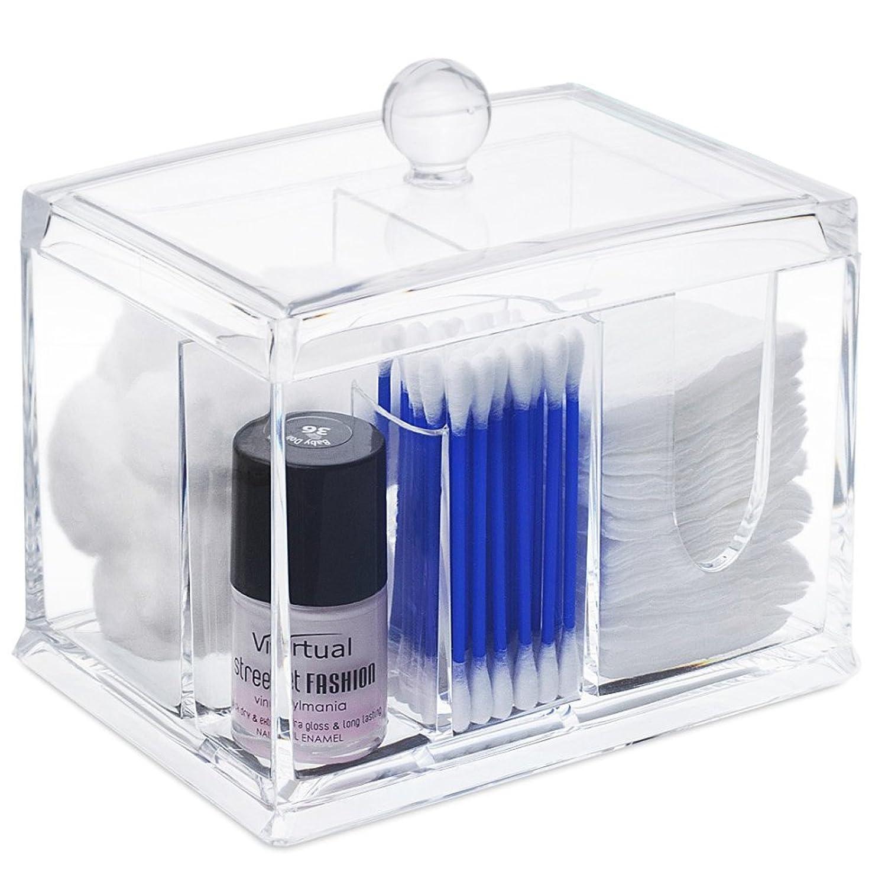 インセンティブ残酷守るSTARMAX 棉棒ボックス 透明 アクリル製 フタ付き 防塵 清潔 化粧品小物 収納ケース 綿棒入れ 小物入れ 化粧品入れ コスメボックス (14cm*10cm*10.5cm)