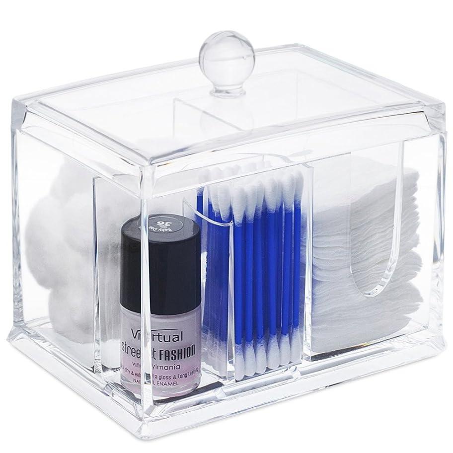 調和要求講義STARMAX 棉棒ボックス 透明 アクリル製 フタ付き 防塵 清潔 化粧品小物 収納ケース 綿棒入れ 小物入れ 化粧品入れ コスメボックス (14cm*10cm*10.5cm)