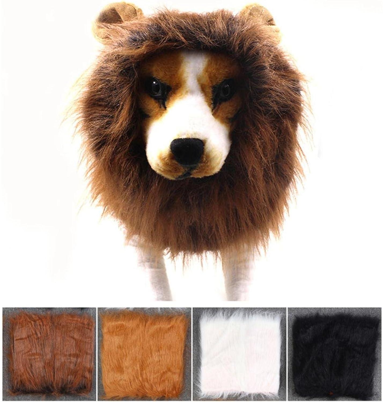 SUNWUKONG Hund Löwe Mähne Kostüm, Mittel Groß Groß Groß Hund Perücke Hut Haar Kleider Halloween Komisch Haustier Dekor, Weiß B07PH8D66S 89eac9
