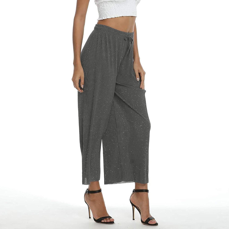 OCLUN Women's Drawstring Cropped Wide Leg Pants Casual Loose Fit Capri Pants Trouser