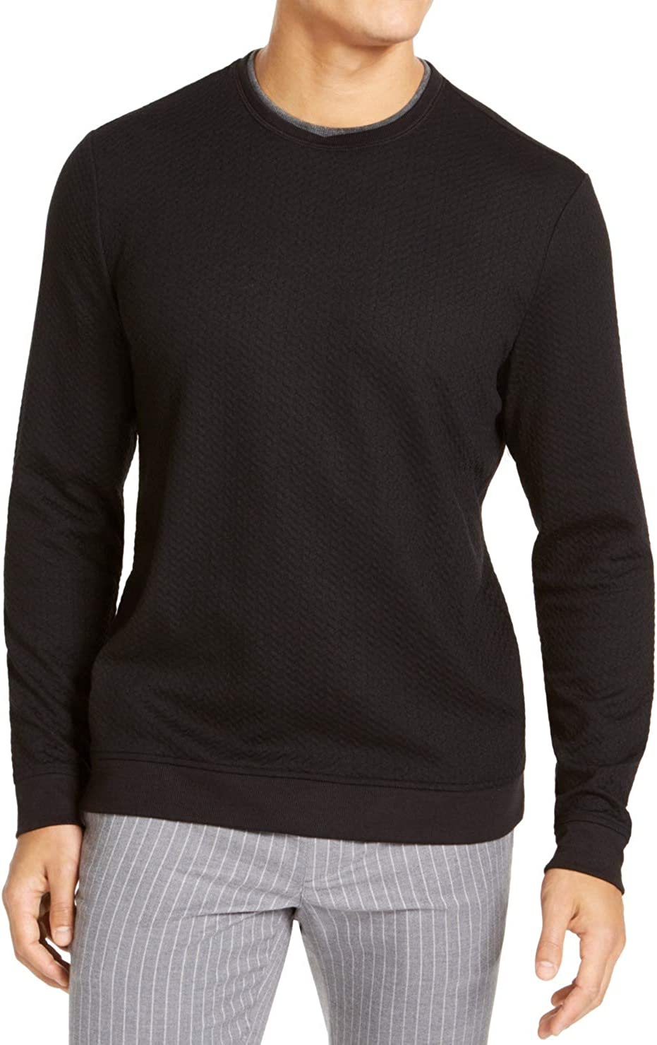 Tasso Elba Mens Sweater Crewneck Pullover Knit Solid Black 2XL