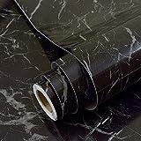 imitation Marbre noir Contact papier dos adhésif vinyle film Peel et bâton Marbre étagère Liner pour comptoir de...