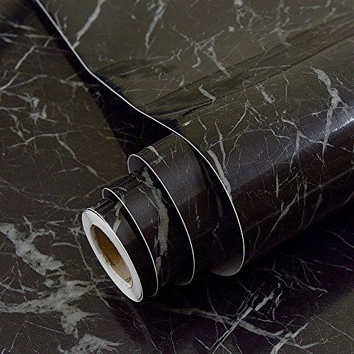 Sintética de mármol negro papel de contacto adhesivo vinilo película Peel y Stick mármol estante maletero para encimera de cocina gabinetes Backsplash manualidades proyectos 60 x 300 cm