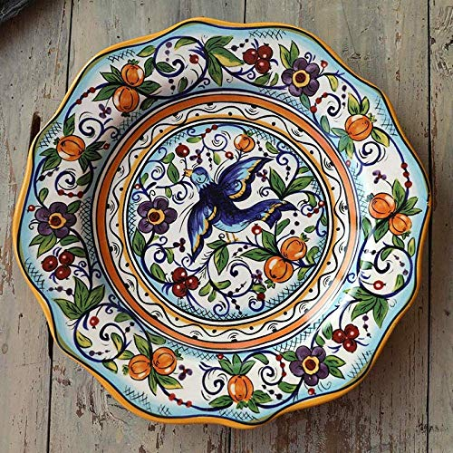 CAIJINJIN Tazón Bohemia placa de cerámica con encanto esmalte artesanía color de la placa colgante pintado a mano placa decorativa @ ave del paraíso