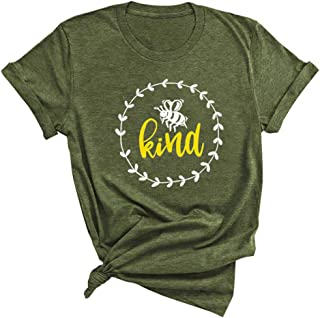 Women Bee Kind Graphic Shirt - Funny Inspirational Teacher Fall Tees Tops
