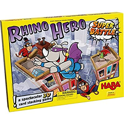 HABA Rhino Hero Super Battle - A Turbulent 3D Stacking Game Fun for All Ages (Made in Germany) by HABA