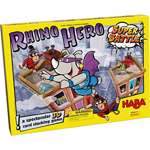 HABA Rhino Hero Super Battle - A Turbulent 3D Stacking Game Fun for All Ages (Made in Germany)