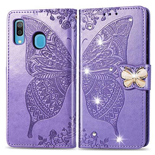 HMTECH Huawei Y6 2019 Hülle,Huawei Y6 2019 Handyhülle Prägung Diamant Schmetterling Blumen Flip Case PU Leder Cover Magnet Schutzhülle Handytasche für Huawei Y6 2019,SD Bling Butterfly Purple