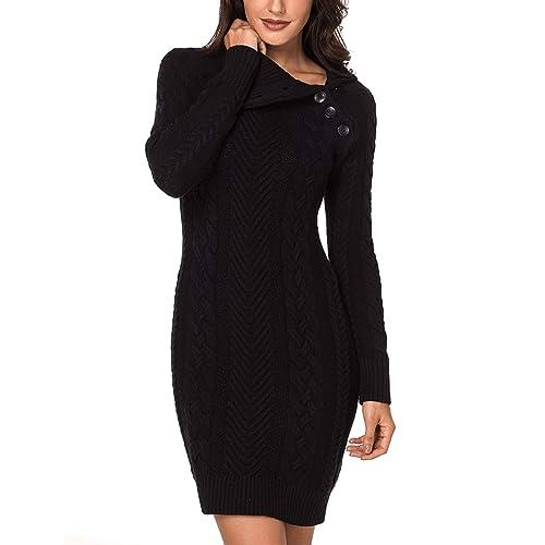 bc3c9dcc844 Lookbook Store Women s Asymmetric Button Collar Cable Knit Bodycon Sweater  Dress