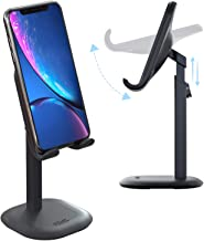 PZOZ Cell Phone Stand, Height/Angle Adjustable Smartphone Tablet Desktop Holder Mount Cradle Dock Compatible for iPad Mini Air iPhone Samsung Android Accessories Desk Office(Black-Ordinary)