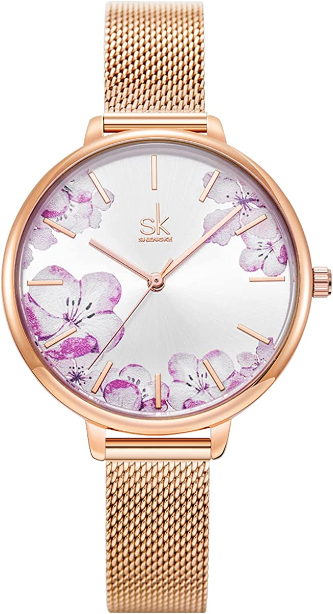 Alienwork SK Reloj Mujer Flores Elegante
