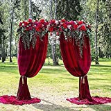 10ftx8ft Burgundy Chiffon Backgrounds Fabric Photo Booth Backdrop Curtains for Weddings Arch Birthday Party Supplies Photo Studio Decoration