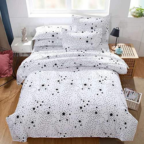 HDBUJ Luxe beddengoed van anti-rimpelvezels, verschillende dekbedovertrekken met sterrenprint, met twee bijpassende kussenslopen, wit