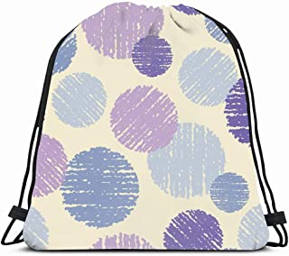 Ahawoso Gym Drawstring Bags Backpack String Bag 14X16 Abstraction Polka Texture Dot Scratch Abstract Doodle Pattern Blouse Graphics Canvas Carpet Circle Sport Sackpack Hiking Yoga Travel Beach