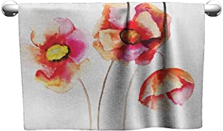 Antonia Reed Spa Towel,Poppy,Watercolors Vibrant Poppies Graphic Peace and Death Symbol Flower Sedative Plant Print, Red White Soft Bath Towel for Pool, Swimming, Travel, Beach Chair,20