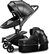 SpringBuds Baby Stroller Bassinet Carriage Combo 360 Rotation 2-in-1 Shock-Resistant High Landscape Luxury Pram Stroller for Newborn and Toddler - Gloss Black