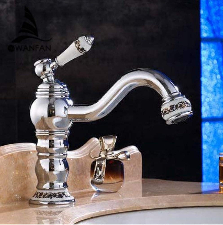 CZOOR Basin Faucets Brass Chrome Elegant Bathroom Sink Faucet Single Lever Deck Mount Bath Washbasin Hot Cold Mixer Water Tap