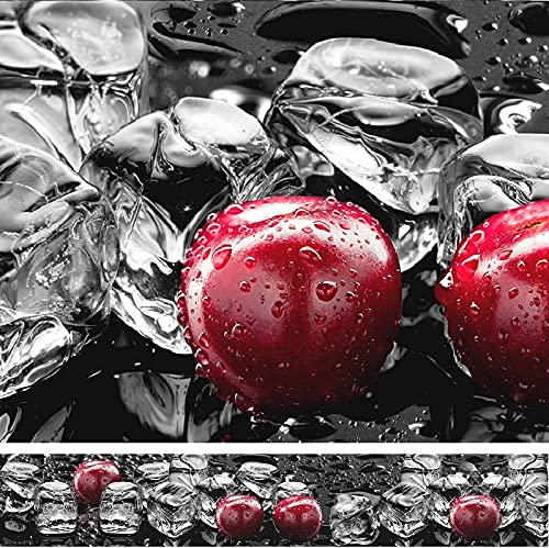 Rodnik Küchenrückwand - 60 x 300 cm -1,6 mm - VIELE Motive - ABS Kunststoff - UV DIREKT Bedruckt! (Eiswürfel und Kirschen) GU31