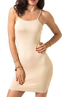 Women's Sexy Bodycon Spaghetti Strap Cami Slip Under Mini Dress