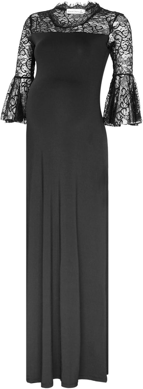 BlackCherry Women's Lace Flare Sleeve Retro Maternity Crew Neck Maxi Dress