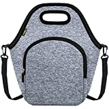 Neoprene Lunch Bag, Cute lunch bags for Women Men, Insulated Waterproof Lunch Tote Box for Work Travel and Picnic (Grey)