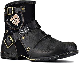 osstone Bottes de Moto pour Hommes Mode Zipper-up Bottes Chukka en Cuir Chaussures décontractées OS-5008-1-A1