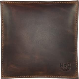 Hide & Drink, Leather Decorative Pillow 8 x 8 in. / Couch, Sofa or Bed/Stylish/Leather Decoration/Home & Office Decor, Handmade :: Bourbon Brown