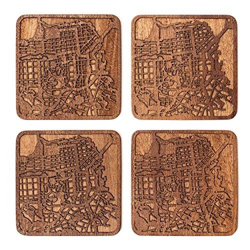 San Francisco Untersetzer mit Landkarte aus Sapeli-Holz, 4 Stück, mit Stadtkarte, mehrere Stadt optional, handgefertigt