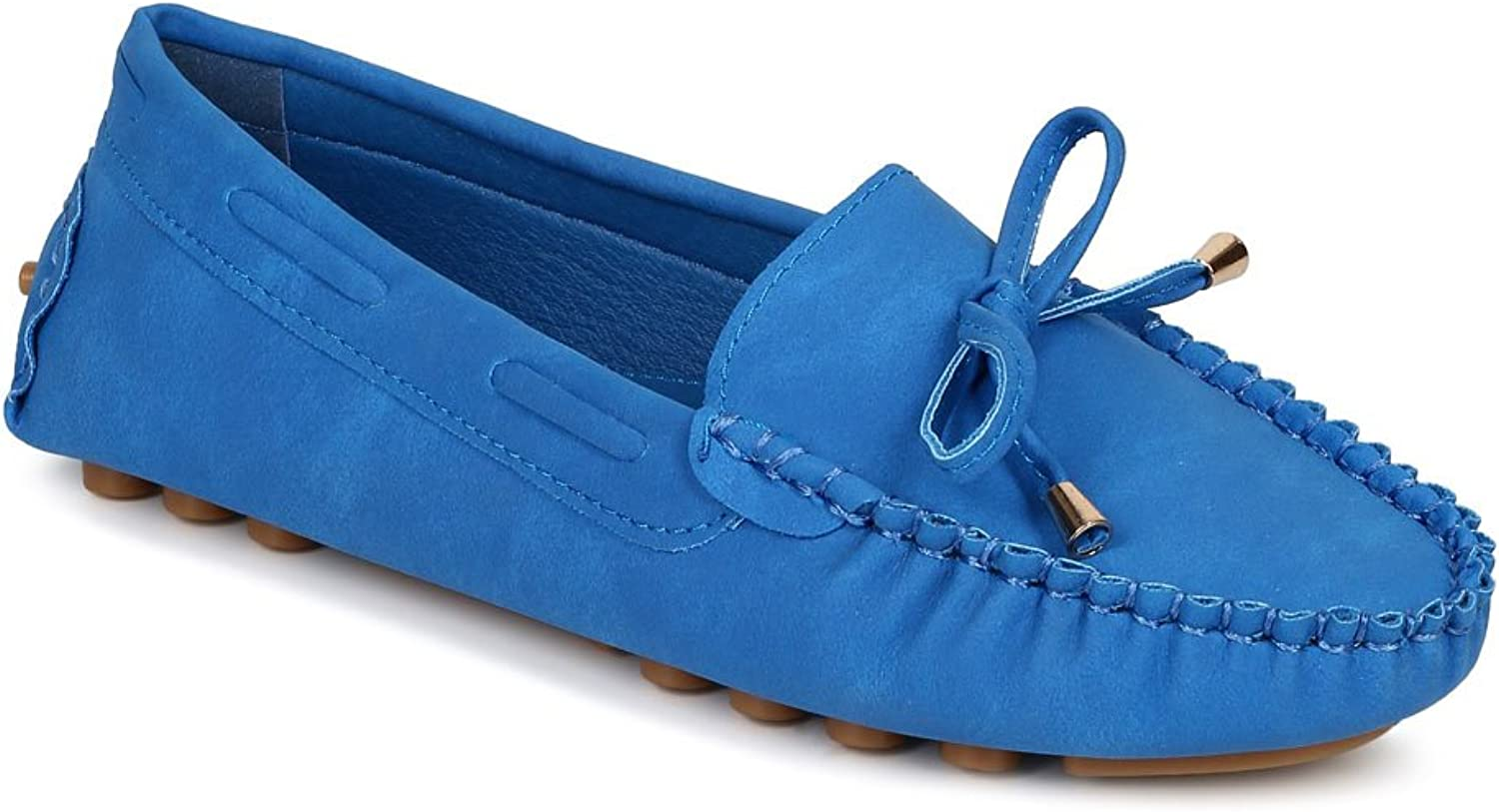 Misbehave Women Leatherette Bow Tassel Slip On Moccasin Flat CF74 - bluee Leatherette