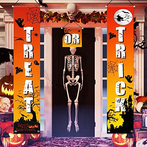 QSUM Halloween Tür Dekorationen, Süßes oder Saures Banner Halloween Veranda Schild Innen und Außen Hängende Zeichen mit Kürbis Hexe Ghost Bat Spinne für Halloween Gate Garden Home Party Dekorationen