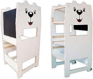 Arte del Legno, Torre Montessoriana di apprendimento per Bambini EASY TOWER, Fissa con Piano Regolabile, Personalizzabile ...
