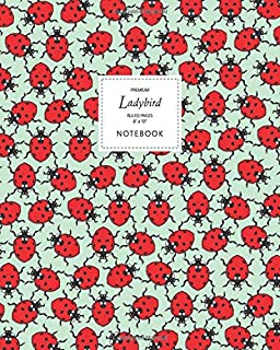 Ladybird Notebook - Ruled Pages - 8x10 - Premium: (Spring Green Edition) Fun notebook 192 ruled/lined pages (8x10 inches /...