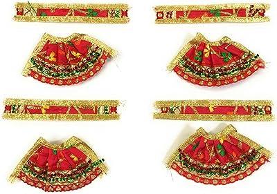 Sheel Cosmetics Silk Crystal Plated MATA Rani Poshak Red&Green Pack of 4 (Size 0)