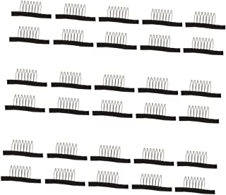 MagiDeal 30pcs Wig Combs Clips Steel Tooth Comb for Human Hair Wig Caps Lace Cap Black