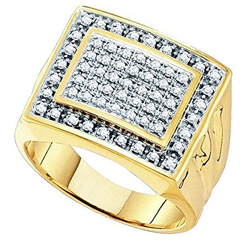 Little Treasures 0.48 Carat (ctw) 9 ct Yellow Gold Round Diamond Mens Cluster Ring Wedding Band 1/2 CT