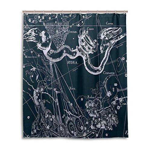 Bad Vorhang für die Dusche 152,4x 182,9cm, Fantasy Sternbild Graph Hydra MondKrater Corvus, Polyester-Schimmelfest-Badezimmer Vorhang