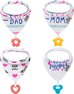 Baby Bandana Drool Bibs 4-Pack and Teething Toys 4-Pack Made with 100% Organic Cotton,..