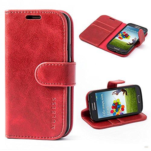 Mulbess Handyhülle für Samsung Galaxy S4 Mini Hülle, Leder Flip Case Schutzhülle für Samsung Galaxy S4 Mini Tasche, Wein Rot