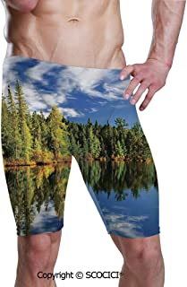 SCOCICI Men's Printed Quick Dry Jammer Swimsuit Elegant Forest Reflecting Swim Shorts