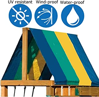 Colorful Swing Set Replacement Tarp Playground Canopy Collapsible for Children Outdoor Sunproof 52x90 Inch (Cover Only)