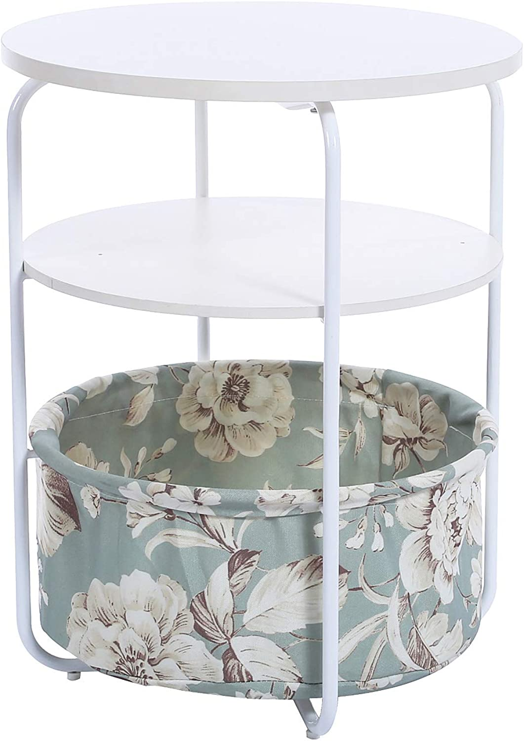 Garwarm 3-Tier Round Side Table End Table Nightstand with Fabric Storage Basket, Modern Studio Collection for Small Spaces Bedroom Living Room, 16.5 × 16.5 × 21 in(LWH)
