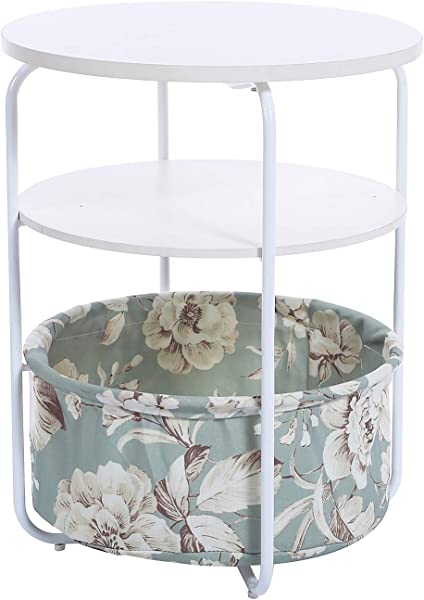 Garwarm 3 Tier Round Side Table End Table Nightstand With Fabric Storage Basket Modern Studio Collection For Small Spaces Bedroom Living Room 16 5 16 5 21 In LWH
