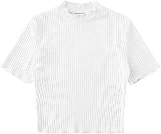 Best white short sleeve turtleneck crop top Reviews
