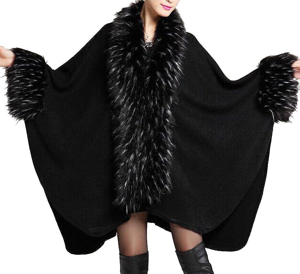 Helan Women's Luxury Style Faux Fur Shawl Cloak Cape Coat Black