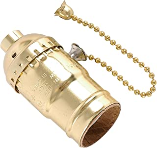 GE Lamp Socket with Pull Chain, Gold 52204