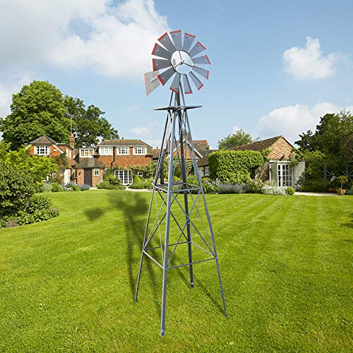 Ferty 8ft Windmill, Metal Steel Windmill Decor with 4-Leg Design, Ornamental Wind Mill Weather Vane Weather Resistant for Home Outdoor Yard Lawn Garden Farm Backyard (US Stock) (Red)