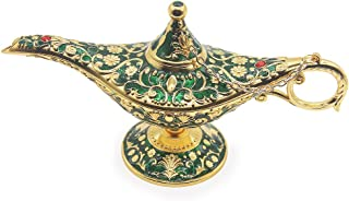 AVESON Classic Vintage Collectable Rare Legend Aladdin Magic Genie Costume Lamp Home Table Decoration & Gift, Golden Green