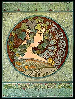Fashion Girl Lady Ivy Looking to The Right Flowers 1901 by Alphonse Mucha 12