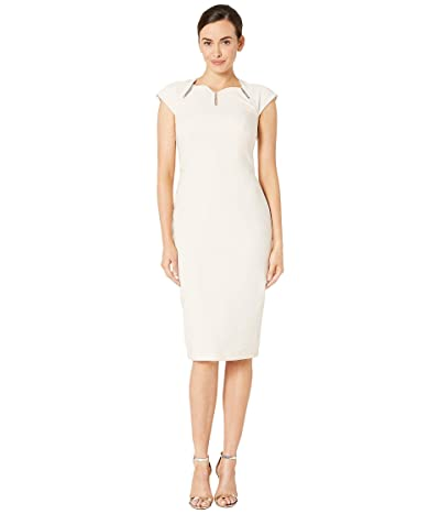 Maggy London Dream Crepe Sheath Dress with Ladder Trim Detail (Oyster) Women